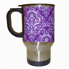 Damask1 White Marble & Purple Denim Travel Mugs (white) by trendistuff
