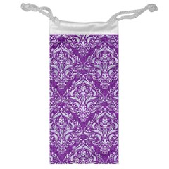 Damask1 White Marble & Purple Denim Jewelry Bag by trendistuff