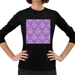 Damask1 White Marble & Purple Denim Women s Long Sleeve Dark T Shirts by trendistuff