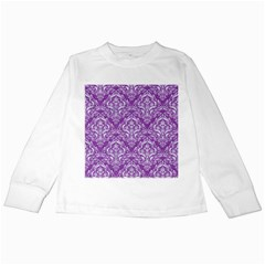 Damask1 White Marble & Purple Denim Kids Long Sleeve T Shirts by trendistuff