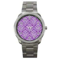 Damask1 White Marble & Purple Denim Sport Metal Watch by trendistuff