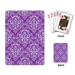 Damask1 White Marble & Purple Denim Playing Card