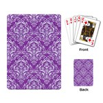 DAMASK1 WHITE MARBLE & PURPLE DENIM Playing Card Back