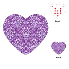 Damask1 White Marble & Purple Denim Playing Cards (heart)
