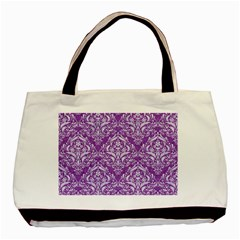 Damask1 White Marble & Purple Denim Basic Tote Bag by trendistuff