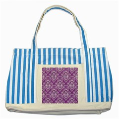 Damask1 White Marble & Purple Denim Striped Blue Tote Bag by trendistuff