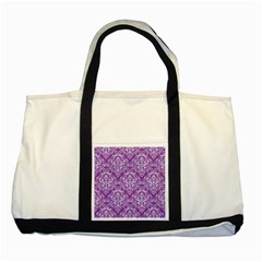 Damask1 White Marble & Purple Denim Two Tone Tote Bag by trendistuff