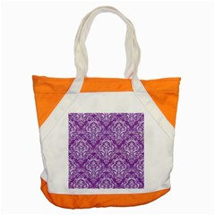 Damask1 White Marble & Purple Denim Accent Tote Bag by trendistuff