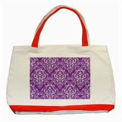 Damask1 White Marble & Purple Denim Classic Tote Bag (red) by trendistuff