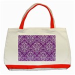 DAMASK1 WHITE MARBLE & PURPLE DENIM Classic Tote Bag (Red) Front