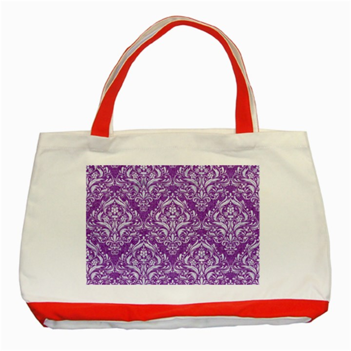 DAMASK1 WHITE MARBLE & PURPLE DENIM Classic Tote Bag (Red)