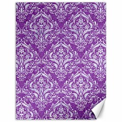 Damask1 White Marble & Purple Denim Canvas 12  X 16   by trendistuff