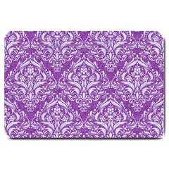 Damask1 White Marble & Purple Denim Large Doormat