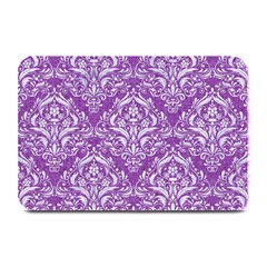 Damask1 White Marble & Purple Denim Plate Mats by trendistuff