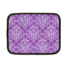 Damask1 White Marble & Purple Denim Netbook Case (small)  by trendistuff