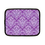 DAMASK1 WHITE MARBLE & PURPLE DENIM Netbook Case (Small)  Front