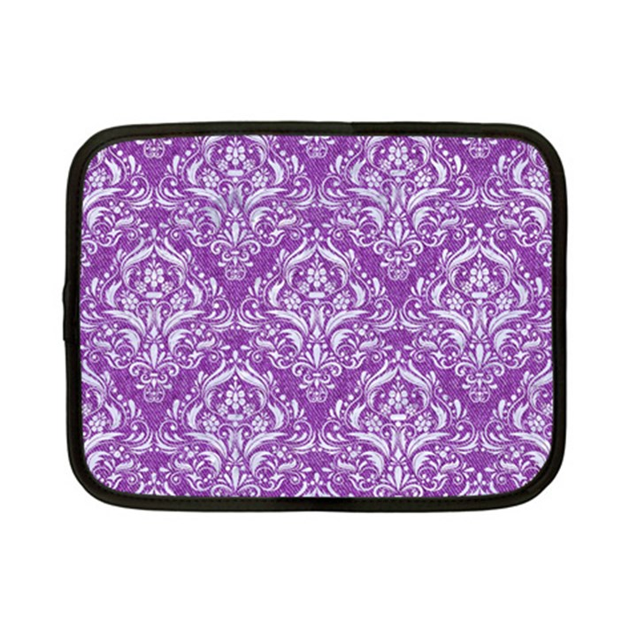 DAMASK1 WHITE MARBLE & PURPLE DENIM Netbook Case (Small)