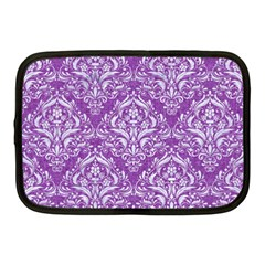 Damask1 White Marble & Purple Denim Netbook Case (medium)  by trendistuff
