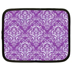 Damask1 White Marble & Purple Denim Netbook Case (large) by trendistuff