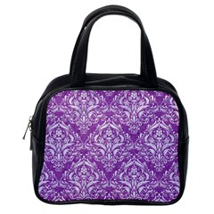 Damask1 White Marble & Purple Denim Classic Handbags (one Side) by trendistuff