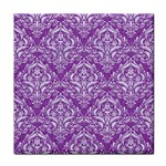 DAMASK1 WHITE MARBLE & PURPLE DENIM Face Towel Front