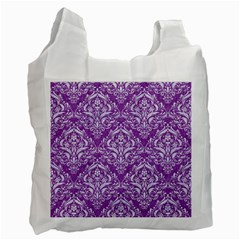 Damask1 White Marble & Purple Denim Recycle Bag (one Side) by trendistuff