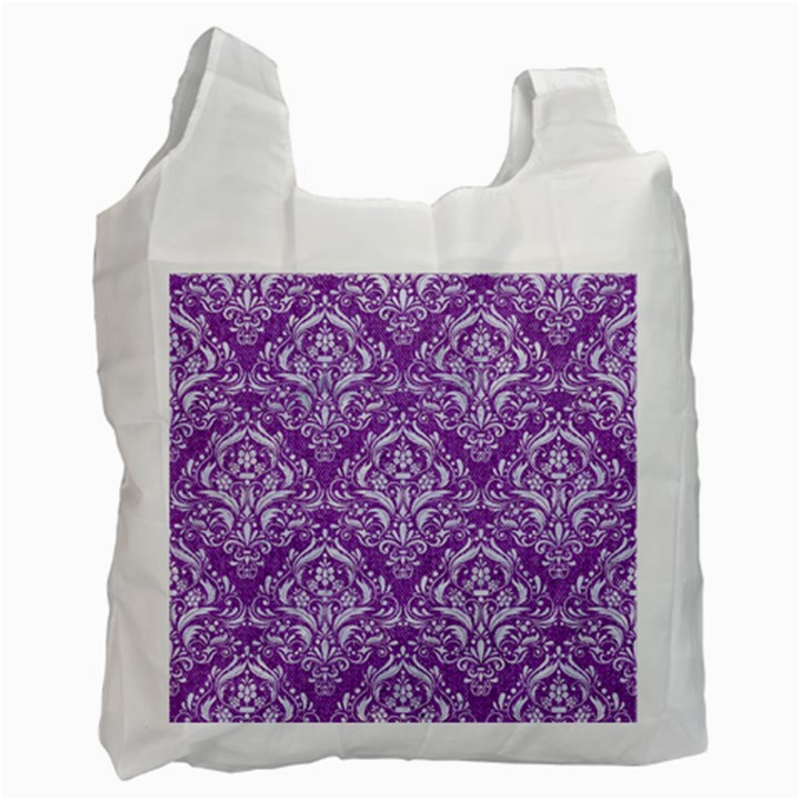 DAMASK1 WHITE MARBLE & PURPLE DENIM Recycle Bag (Two Side)