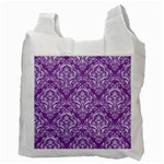 DAMASK1 WHITE MARBLE & PURPLE DENIM Recycle Bag (Two Side)  Back