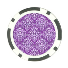 Damask1 White Marble & Purple Denim Poker Chip Card Guard (10 Pack) by trendistuff