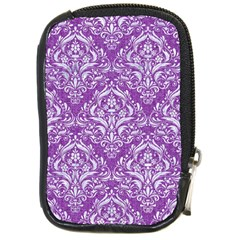 Damask1 White Marble & Purple Denim Compact Camera Cases by trendistuff