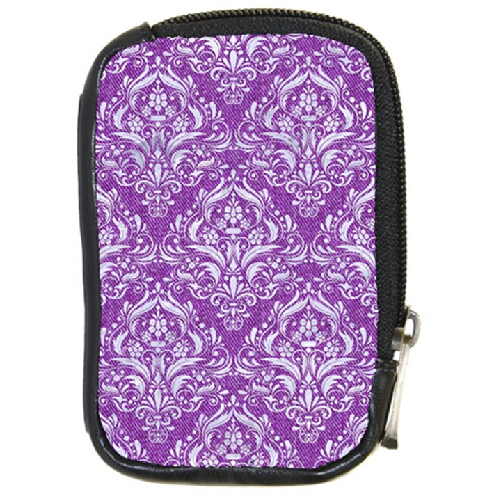 DAMASK1 WHITE MARBLE & PURPLE DENIM Compact Camera Cases