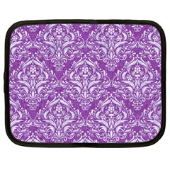 Damask1 White Marble & Purple Denim Netbook Case (xl)  by trendistuff