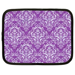 Damask1 White Marble & Purple Denim Netbook Case (xxl)  by trendistuff