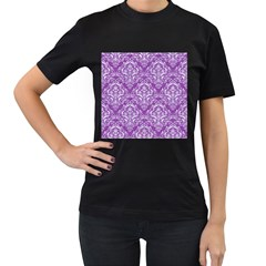 Damask1 White Marble & Purple Denim Women s T Shirt (black) by trendistuff