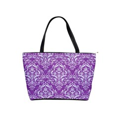 Damask1 White Marble & Purple Denim Shoulder Handbags by trendistuff