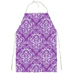 DAMASK1 WHITE MARBLE & PURPLE DENIM Full Print Aprons Front