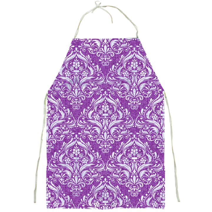 DAMASK1 WHITE MARBLE & PURPLE DENIM Full Print Aprons