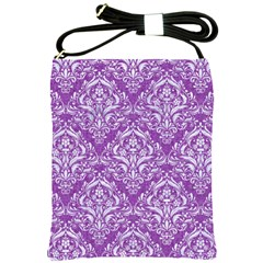 Damask1 White Marble & Purple Denim Shoulder Sling Bags by trendistuff