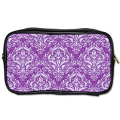 Damask1 White Marble & Purple Denim Toiletries Bags by trendistuff