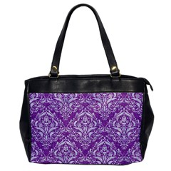 Damask1 White Marble & Purple Denim Office Handbags by trendistuff