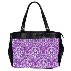 Damask1 White Marble & Purple Denim Office Handbags (2 Sides)  by trendistuff