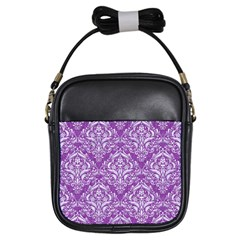 Damask1 White Marble & Purple Denim Girls Sling Bags by trendistuff