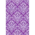 DAMASK1 WHITE MARBLE & PURPLE DENIM 5.5  x 8.5  Notebooks Front Cover