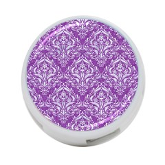 Damask1 White Marble & Purple Denim 4 Port Usb Hub (one Side)