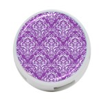 DAMASK1 WHITE MARBLE & PURPLE DENIM 4-Port USB Hub (One Side) Front