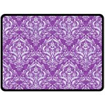DAMASK1 WHITE MARBLE & PURPLE DENIM Fleece Blanket (Large)  80 x60 Blanket Front