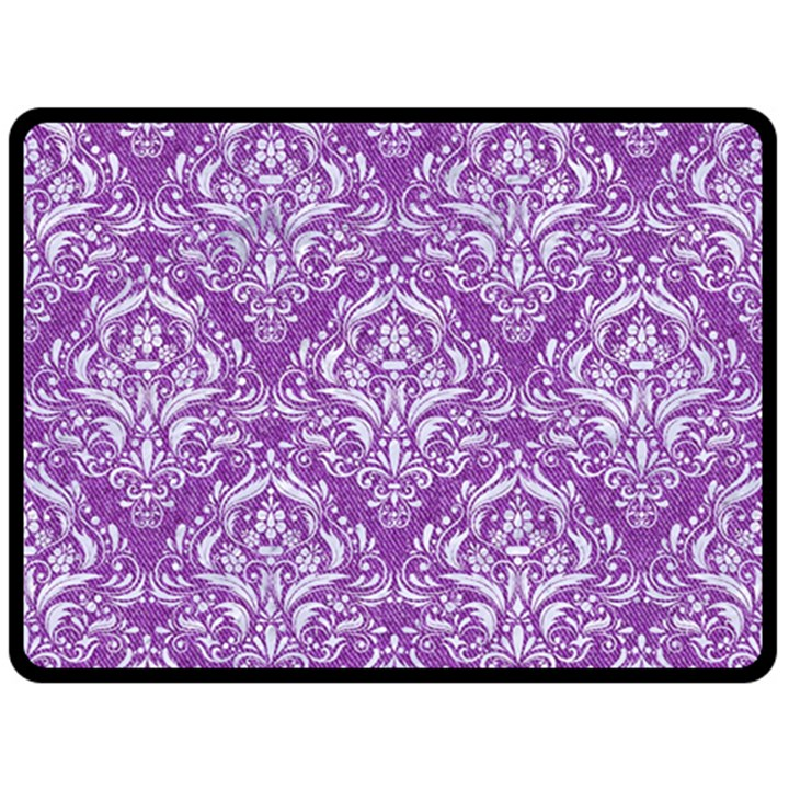 DAMASK1 WHITE MARBLE & PURPLE DENIM Fleece Blanket (Large)
