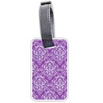 DAMASK1 WHITE MARBLE & PURPLE DENIM Luggage Tags (One Side)  Front