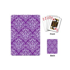 Damask1 White Marble & Purple Denim Playing Cards (mini)  by trendistuff