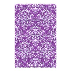 Damask1 White Marble & Purple Denim Shower Curtain 48  X 72  (small)